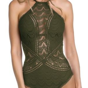 Becca One Piece Swimsuit Crochet Olive Green NWT